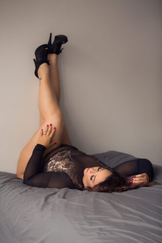 40th birthday gift to self. Black bodysuit with heels boudoir photo. See more at boudoirbytracylynn.com