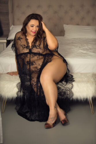 40th birthday gift to self. Black lace cover up with gold high heals boudoir photo. See more at boudoirbytracylynn.com